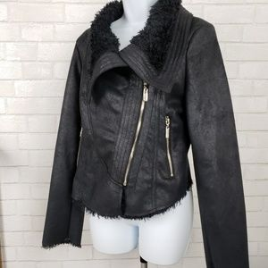 Jennifer lopez faux fur suede in black motto style